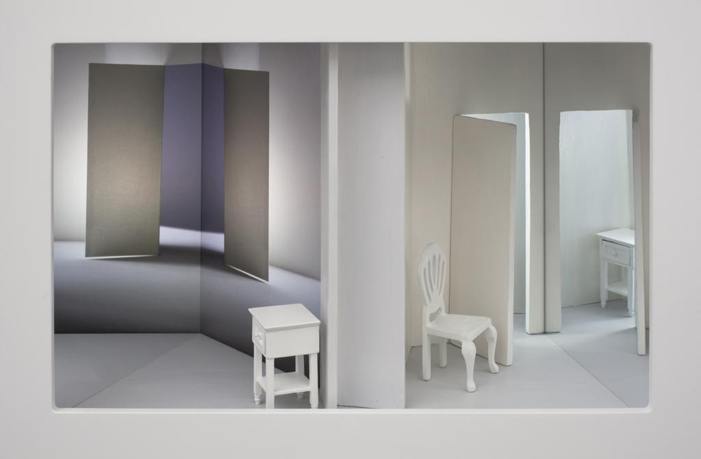 Misplaced 11.5 x 16.5 x 10 inches wood, mixed media, mirror, digital print, plexi glass, electrical lights
